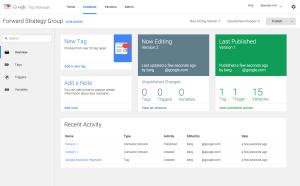 구글 태그관리자 베타 인터페이스
